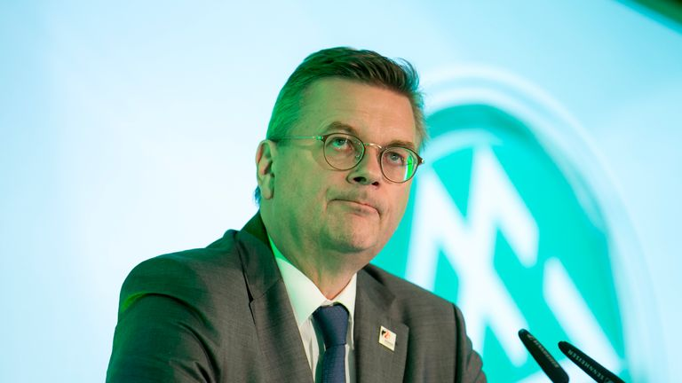 Reinhard Grindel was fiercely criticised by Mesut Ozil