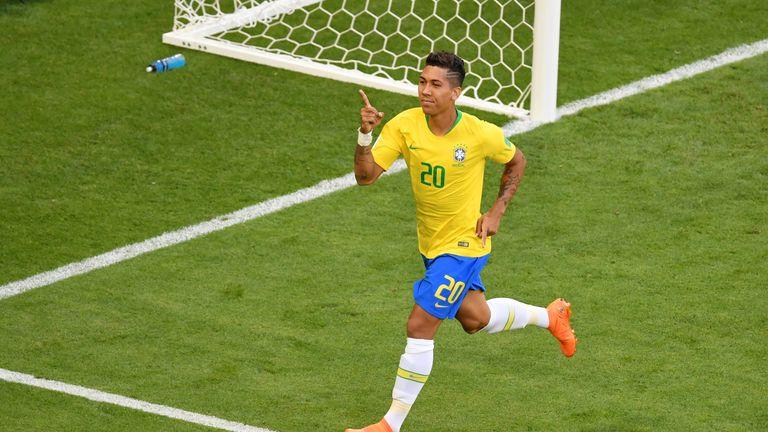 Roberto Firmino celebrates doubling Brazil's lead
