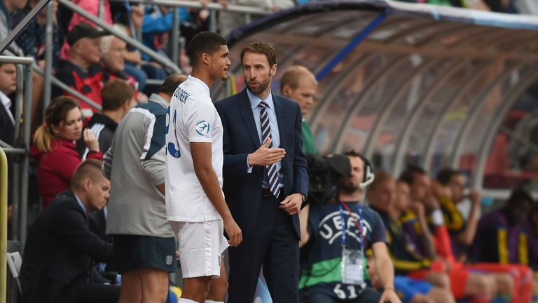 Ruben Loftus-Cheek and Gareth Southgate during the UEFA Under21 European Championship 2015 match between Sweden and England at Andruv Stadium on June 21, 2015 in Olomouc, Czech Republic.
