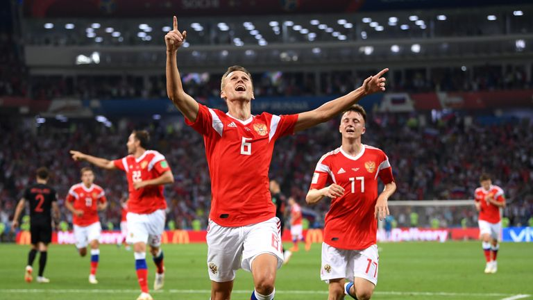 Denis Cheryshev celebrates his stunning opener
