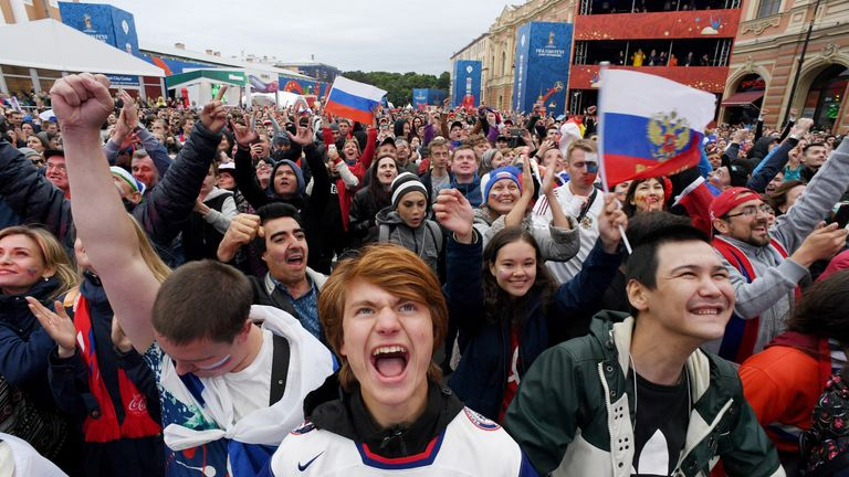 Russian fans go crazy in St Petersburg on Sunday