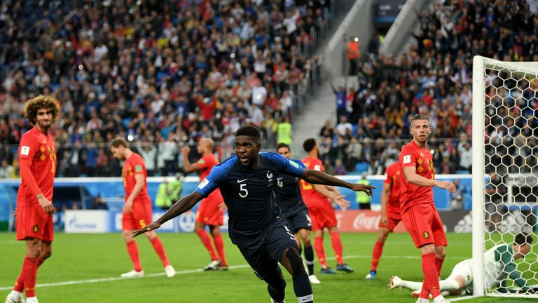 France defender Samuel Umtiti celebrates his winning goal against Belgium in the World Cup semi-finals