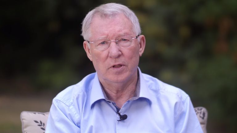 Grab from Sir Alex Ferguson video message, Manchester United