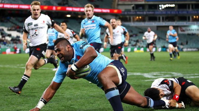 Taqele Naiyaravoro was one of three players to score twice as the 'Tahs plundered 77 points past the Sunwolves
