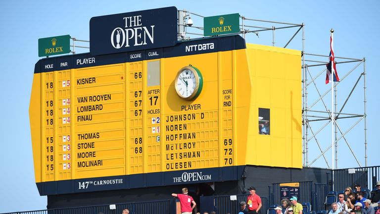 The leaderboard in the first round of The Open at Carnoustie