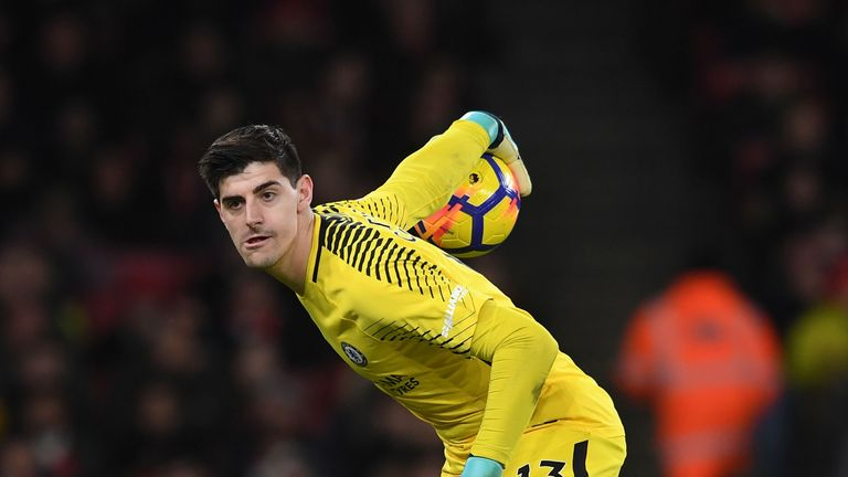 Thibaut Courtois during the Premier League match between Arsenal and Chelsea