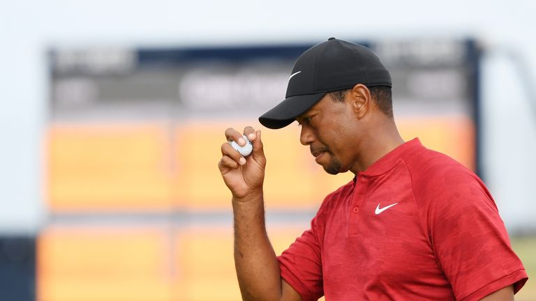 Tiger Woods of the United States reacts to a birdie on the 14th hole during the final round of the 147th Open Championship at Carnoustie Golf Club on July 22, 2018 in Carnoustie, Scotland.