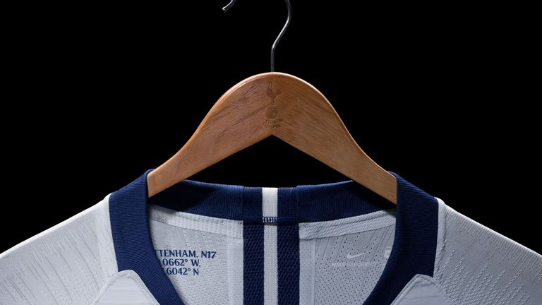 The Tottenham kit features the club's postcode and coordinates of the centre circle of White Hart Lane on the inside