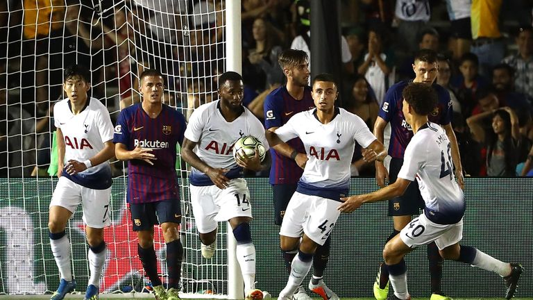 Heung-min Son and Georges-Kevin N'Koudou scored for Spurs against Barcelona on Saturday