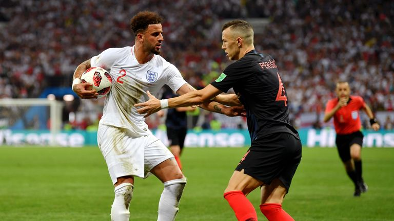 Kyle Walker tangles with Ivan Perisic