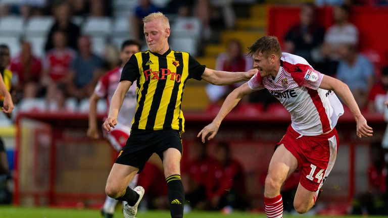 Will Hughes and James Ferry battle for possession the pre-season friendly