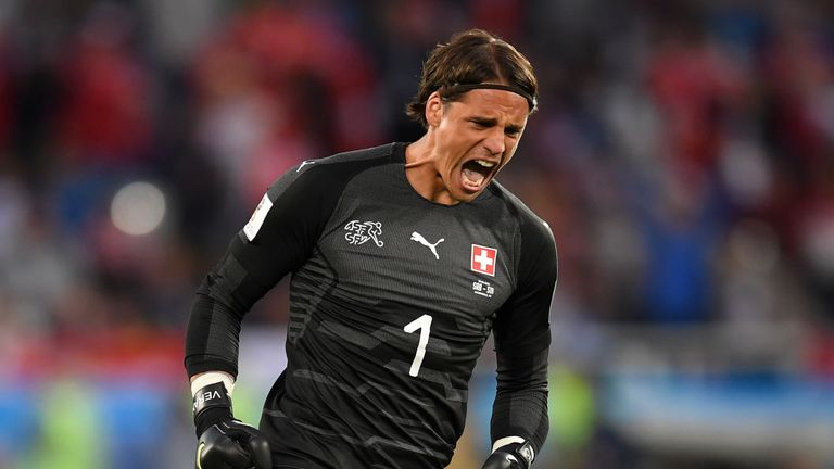 KALININGRAD, RUSSIA - JUNE 22:  Yann Sommer of Switzerland celebrates his team's first goal  during the 2018 FIFA World Cup Russia group E match between Serbia and Switzerland at Kaliningrad Stadium on June 22, 2018 in Kaliningrad, Russia.  (Photo by Matthias Hangst/Getty Images)