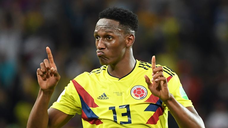 Yerry Mina celebrates his late equaliser