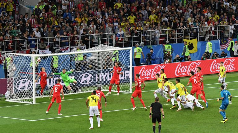 Yerry Mina scored in injury-time to deny England victory in 90 minutes, but they defeated Colombia 4-3 on penalties
