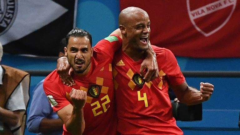 Nacer Chadli and Vincent Kompany celebrate a Belgium goal