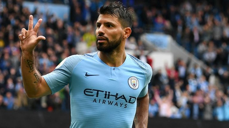 Sergio Aguero scored a hat-trick in the win over Huddersfield