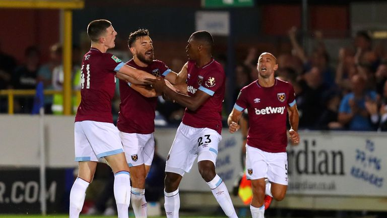 Issa Diop is congratulated after firing home West Ham's equaliser