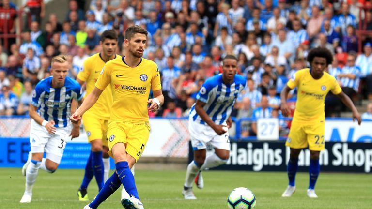 Jorginho scores from the spot at Huddersfield