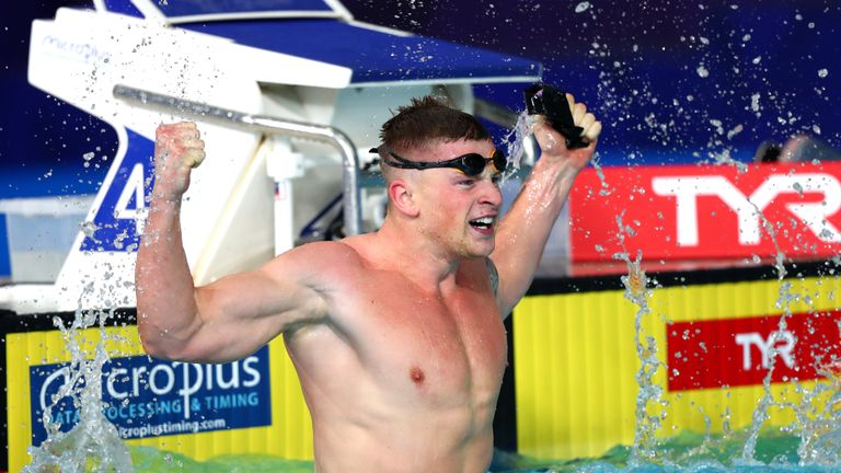 Adam Peaty during the swimming on Day three of the European Championships Glasgow 2018 at Tollcross International Swimming Centre on August 4, 2018 in Glasgow, Scotland.