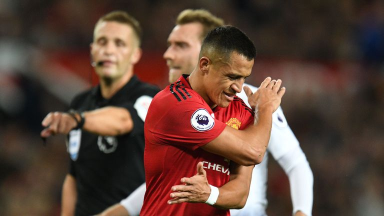 Sanchez show his frustration against Tottenham at Old Trafford