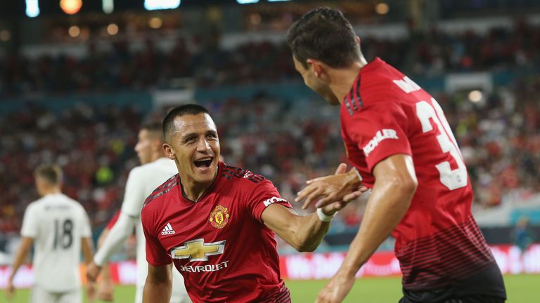 Alexis Sanchez celebrates with Matteo Darmian after given Manchester United the lead against Real Madrid