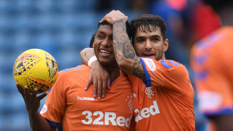 Rangers' Alfredo Morelos at full time with the match ball