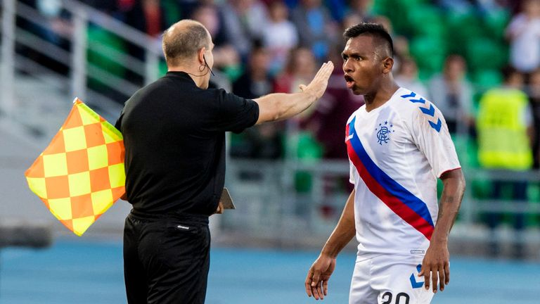 Alfredo Morelos appeals to the officials after being sent off against FC Ufa