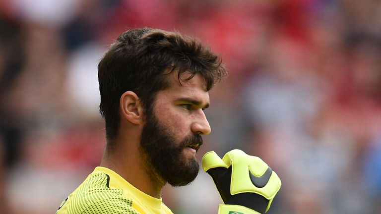 Alisson Becker during the Premier League match between Liverpool and West Ham United
