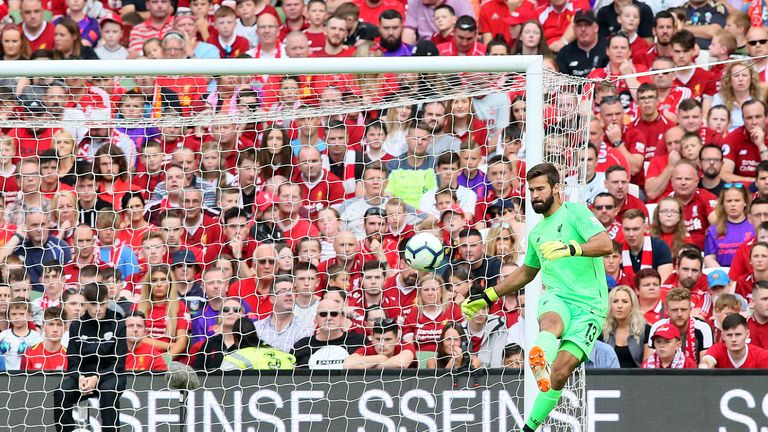 Alisson made his first appearance for Liverpool