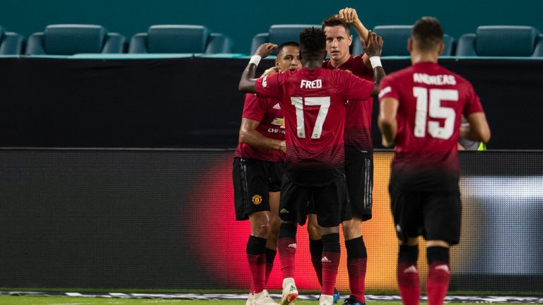 MIAMI, FL - JULY 31: Ander Herrera #21 of Manchester United celebrates with teammates after scoring a goal during the first half of the International Champions Cup match against Real Madrid at Hard Rock Stadium on July 31, 2018 in Miami, Florida. (Photo by Rob Foldy/Getty Images) *** Local Caption *** Ander Herrera