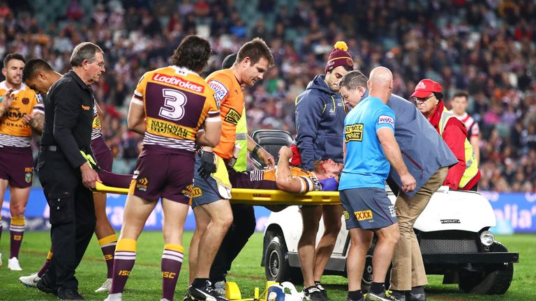 Andrew McCullough left the field on a stretcher after being tackled by Dylan Napa