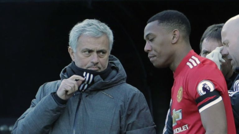 Manager Jose Mourinho of Manchester United speaks to Anthony Martial during the Premier League match between Newcastle United and Manchester United at St. James Park on February 11, 2018 in Newcastle upon Tyne, England.