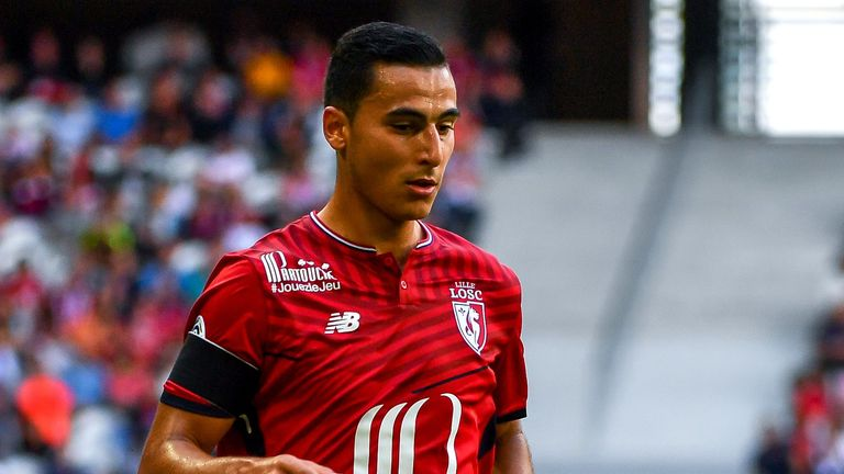 Lille's Dutch-Morrocan forward Anwar El-Ghazi controls the ball during the French L1 football match Lille vs Caen at The Pierre Mauroy Stadium in Villeneuve d'Ascq on August 20, 2017