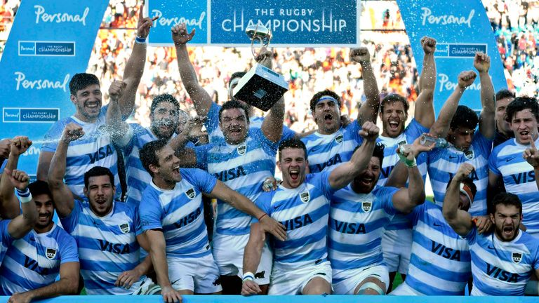 Argentina celebrate after defeating the Springboks in Mendoza