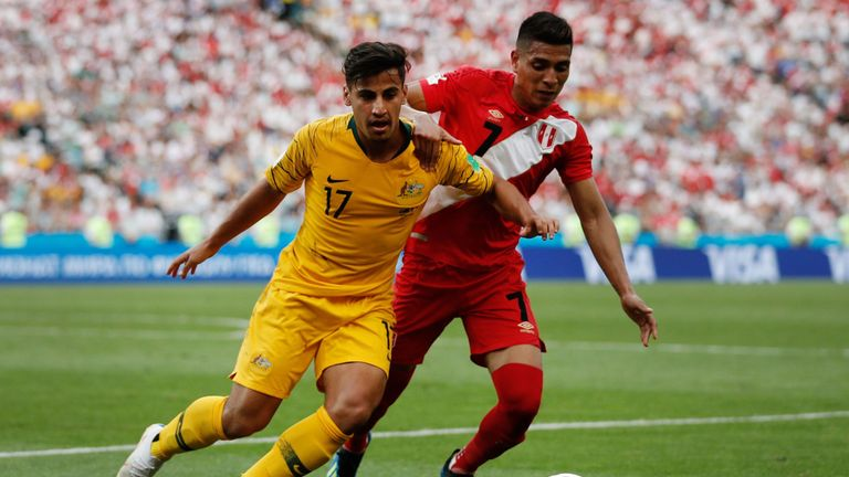Daniel Arzani (left) impressed for Australia at the World Cup