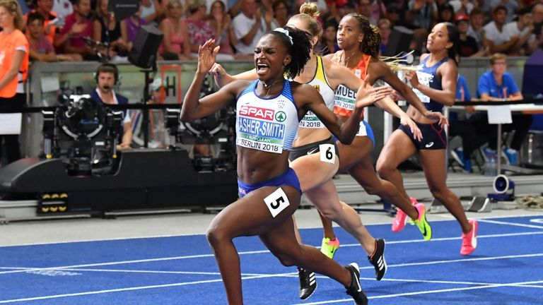 Dina Asher-Smith broke the British record in her 100m victory