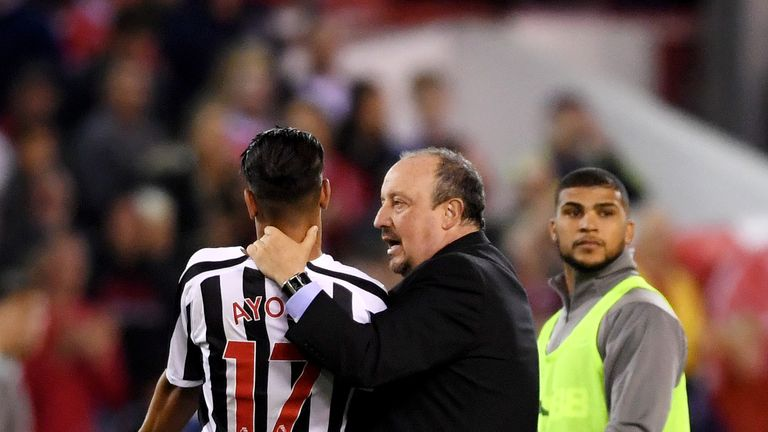 Rafael Benitez had to calm down Ayoze Perez after he was denied an injury-time penalty with Newcastle 2-1 down