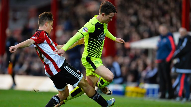 Ben Chilwell in action during the Sky Bet Championship match between Brentford and Huddersfield Town at Griffin Park on December 19, 2015 in London, England.