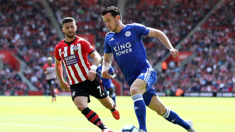 Shane Long closes down Ben Chilwell at St Mary's Stadium