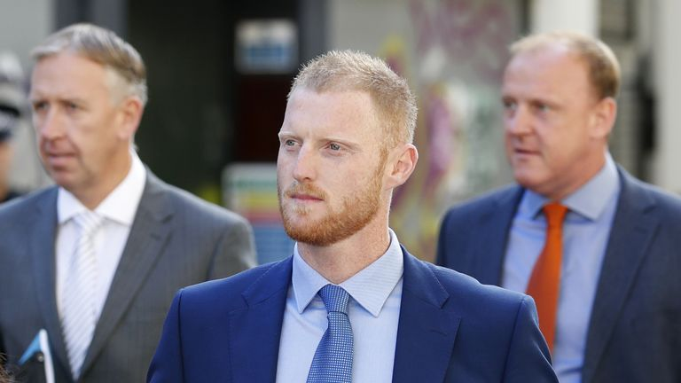 Ben Stokes outside Bristol Crown Court on the sixth day of his trial for affray