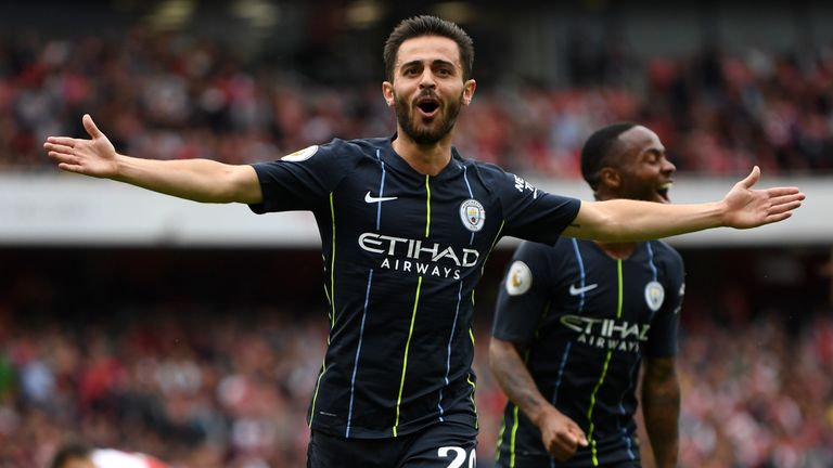 Bernardo Silva and Raheem Sterling were on target at the Emirates Stadium on Sunday