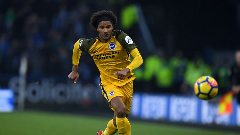 Izzy Brown of Brighton during the Premier League match between Huddersfield Town and Brighton and Hove Albion at John Smith's Stadium on December 9, 2017 in Huddersfield, England.
