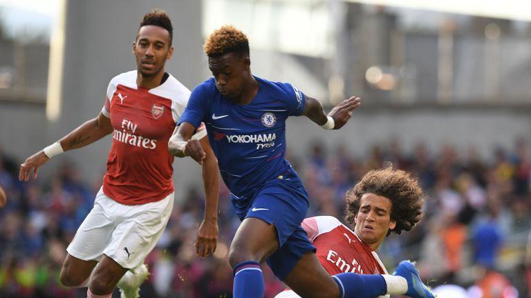 Callum Hudson-Odoi in action for Chelsea against Arsenal