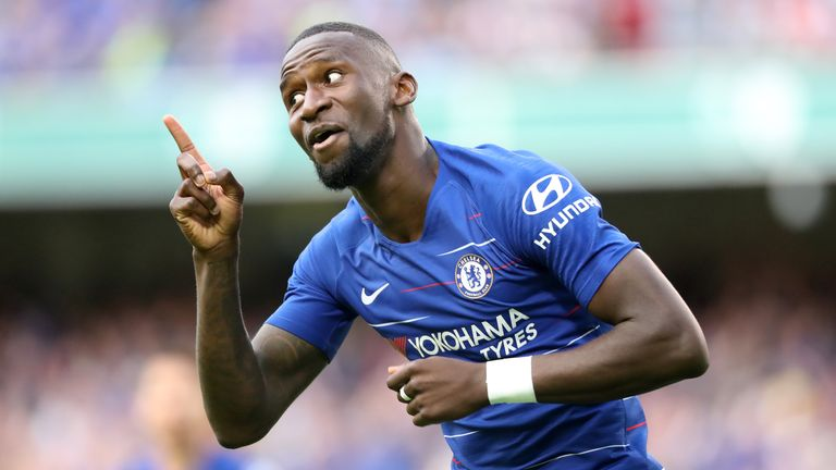 Chelsea's Antonio Rudiger celebrates scoring his side's first goal of the game during the pre-season friendly match against Arsenal