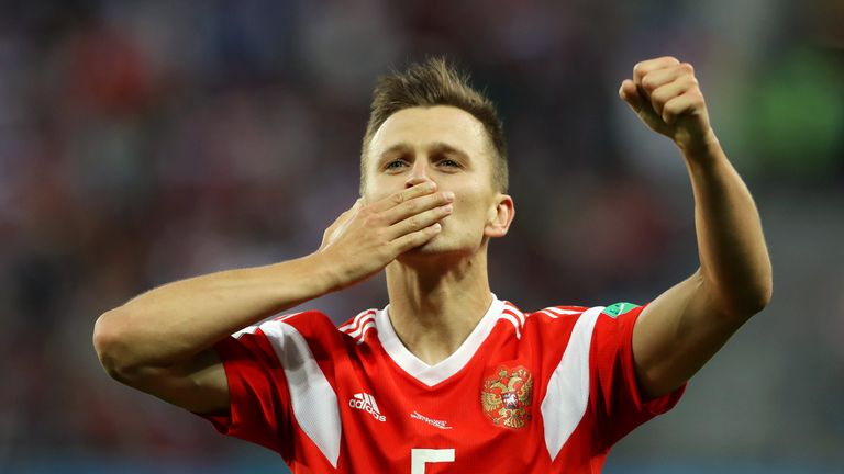 Cheryshev celebrates scoring for Russia at the World Cup this summer
