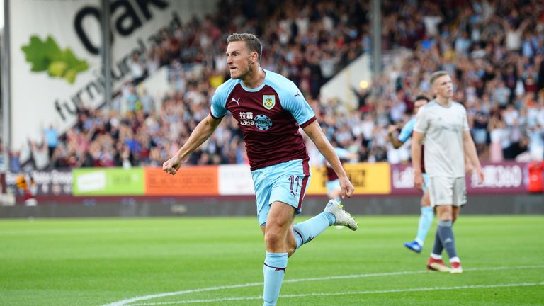Chris Wood celebrates scoring the opening goal