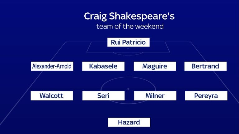 Craig Shakespeare's team of the weekend
