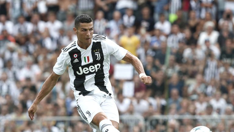 Cristiano Ronaldo scores during the friendly match between Juventus and Juventus B at Villar Perosa, on August 12, 2018