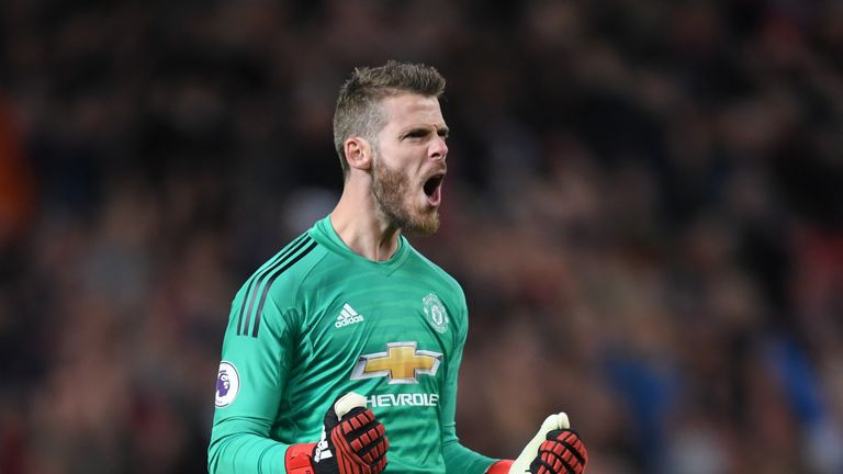 Manchester United's David de Gea celebrates after Luke Shaw (not pictured) scores their second goal