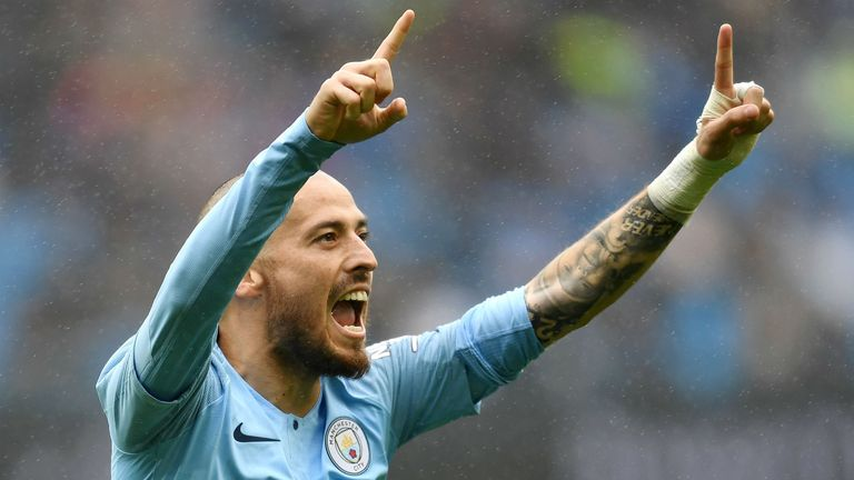AUGUST 19: David Silva of Manchester City celebrates after scoring his team's fourth goal during the Premier League match between Manchester City and Huddersfield Town at Etihad Stadium on August 19, 2018 in Manchester, United Kingdom.